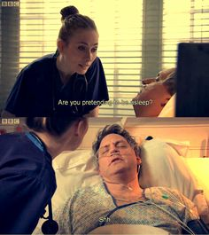 Pretending to sleep Sacha? Holby City