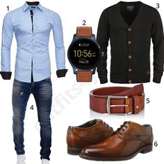 Gehobener Männer-Look mit Smartwatch und Hemd (m0479) #kayhan #smartwatch #fossil #strickjacke #ledergürtel #outfit #style #fashion #menswear #mensfashion #inspiration #shirt #cloth #clothing #männermode #herrenmode #shirt #mode #styling #sneaker #menstyle