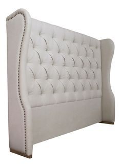 This sumptuous linen upholstered headboard gives a truly decadent feel to any bedroom. Upholstered in soft natural linen this stunning. Bed Headboard Design, Linen Headboard, Bedroom Furniture Design, Headboards For Beds, Bed Design, Upholstered Headboards, Upholstery Trim, Upholstery Cushions, Furniture Upholstery