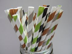 Mine Craft Party  Paper  Party Straws  QTY 25  by LouTinenEvents, $3.95