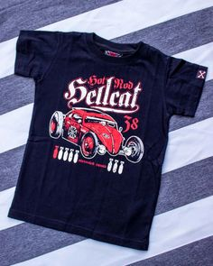 Hotrod Hellcat To Hell /& Back Workshirt Kids Top Cool Rockabilly Devil Racer Car
