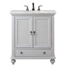 Home Decorators Collection Newport 31 in. W x 21.5 in. D Single Vanity in Pewter with Granite Vanity Top in Grey with White Basin-1975200290 - The Home Depot