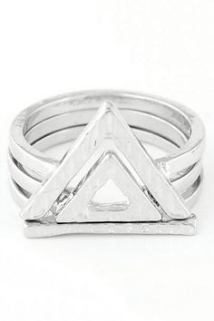 Double Hollow Triangle Rings #CLICK! #clothing, #shoes, #jewelry, #women, #men