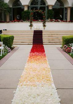 This is fantastic! #Ombre Aisle Runner Custom design #FlowerPetals by @sashesforlove com #weddingdecor #etsybot2