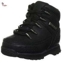 Timberland Euro Sprint, Chaussures montantes garçon - Noir (Black Smooth), 24 EU (7.5 US) - Chaussures timberland (*Partner-Link)