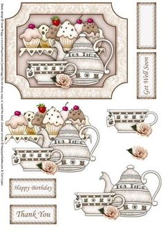 TEATIME TREATS topper decoupage on Craftsuprint designed by Janet Briggs - Topper with step by step decoupage. Suitable for a wide variety of occasions, birthday, thank you, get well, retirement etc.Features a teatime scene with cupcakesSentiment tags included read, Get Well Soon, Happy Birthday, Thank You and there is one blank for your own sentiment. - Now available for download!