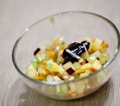 Minestrone di frutta e verdura confettura di sambuco