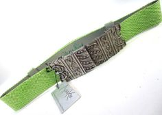 Vtg New Old Stock Alexis Kirk Silver Tone Light Green Embossed Leather Belt *
