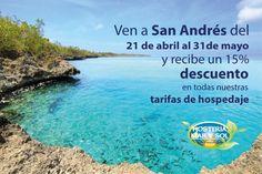 Viaja a San Andrés, Colombia y obtén el 15% de descuento en nuestras tarifas de hospedaje. ven y conoce el mar de los 7 colores en el Caribe Colombiano :D #HosteriaMarySol