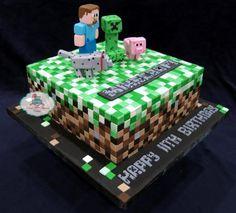 Minecraft Birthday Cake, Minecraft Party, Mine Minecraft, Cold Stone Cakes, Mindcraft Cakes, 19th Birthday Cakes, Camo Cakes, Witch Cake, Thomas Cakes