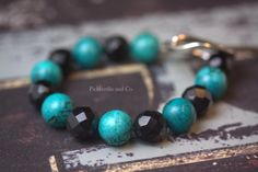 Bracelet Turquoise and Black by PickleStiksandCo on Etsy, $22.00