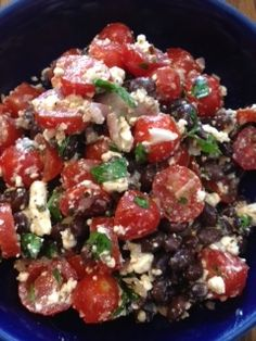 What a healthy, filling salad!  Tomato & Black Bean Salad - Yummy!!!!!!