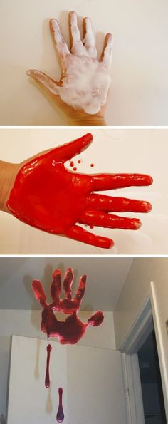 DIY Bloody Handprint Window Clings.