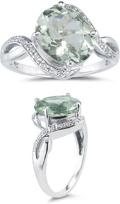 3.10 Carat Green Amethyst And Diamond Ring