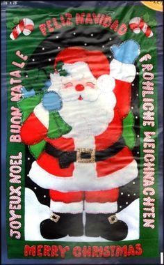 "BUCILLA 1998 CHRISTMAS ""INTERNATIONAL SANTA"" FELT APPLIQUE BANNER EMBROIDERY KIT #Bucilla"