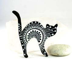 Black and White Cat Brooch  hand painted wooden by PumpkinDesign, $18.00