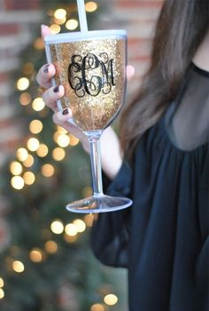 Monogrammed sparkly gold wine glass for the newly weds, bridesmaids, or really anyone during reception - also a great keepsake