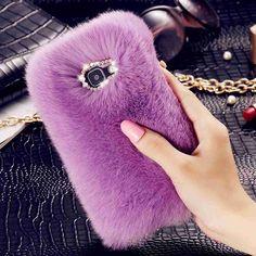 Kisscase casos de piel de pelo de conejo para iphone 7 6 s 6 plus case para samsung galaxy s7 s6 edge fundas de la contraportada de bling del diamante de lujo