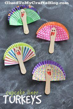 Turkey Kid Crafts {Roundup} - Cupcake Liner Turkeys – Kid Craft - - https:/ Thanksgiving Art, Thanksgiving Preschool, Thanksgiving Crafts For Kids, Fall Crafts, Holiday Crafts, Thanksgiving Decorations, Daycare Crafts, Sunday School Crafts, Toddler Crafts