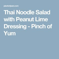 Thai Noodle Salad with Peanut Lime Dressing - Pinch of Yum