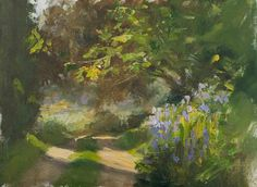 daily painting titled Shaded track with irises - click for enlargement