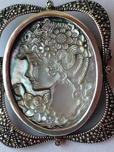 STUNNING Silver Marcasite and Mother of Pearl by benjiboyvintage