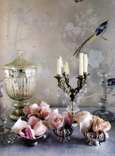 Love the washed flowers on the wall with the bird! Would love to see this in a silk jacket... beautiful.