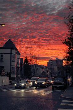 Sunset in Cambridge, MA.