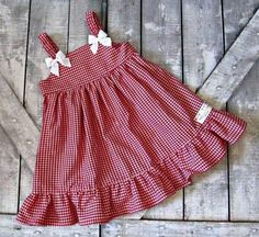 Girls Red Gingham Dress Baby Girl Dress Toddler by TootandPuddle Red dress 12 18 months no interest - Fashion dress weekly Navy and White girls Gingham D Baby Girl Frocks, Frocks For Girls, Toddler Girl Dresses, Little Girl Dresses, Girls Dresses, Girls Frock Design, Baby Dress Design, Baby Frocks Designs, Kids Frocks Design