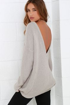 Oversized Deep V // Taupe Knit