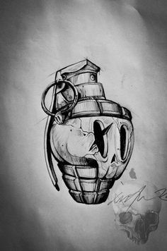 Strap a grenade to my head. Pull out the pin; my music is mi… – Graffiti World Kunst Tattoos, Neue Tattoos, Skull Tattoos, Body Art Tattoos, Sleeve Tattoos, Cool Tattoos, Tattoo Design Drawings, Cool Art Drawings, Art Drawings Sketches