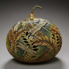 Wizard of Awes is your source for the most unique gourd art designs available. Decorative Gourds, Hand Painted Gourds, Sunderland, Wizard Of Awes, Vases, Creative Pumpkins, Fall Vegetables, Keramik Vase, Art Carved