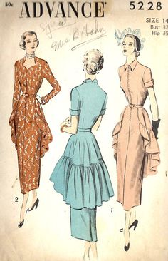 1940s Misses Sheath Dress with Peplum