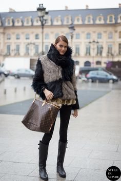 Paris Haute Couture SS 2014 Street Style: Model off duty after Ralph & Russo Couture SS14 show.