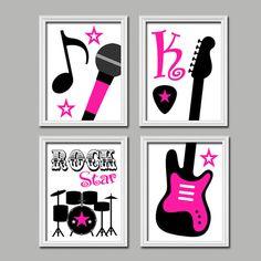 Cute Custom Name Initial Pink Black Rock Star Microphone Guitar Drums Music Print Artwork Set of 4 Prints WALL Decor Girl ART Picture