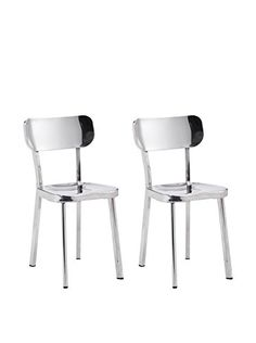 www.myhabit.com  Sure to add contemporary spice to any space, this set of 2 shimmering chairs feature a polished stainless steel construction