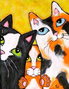 Three Cat Squeeze Pose Painting at ArtistRising.com