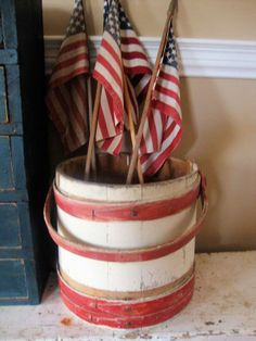 flags - wood bucket