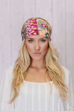 I wore these in college in the 70's...Gray Aztec Wide Turban Headband Watercolor Print Head bands. $18.00, via Etsy.