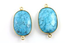 Turquoise  Bezel Oval Connector Gemstone Component by Beadspoint, $8.99