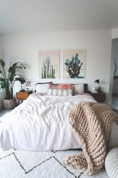 Bedroom blush tones Cactus decor Home sweet home Interior decoration