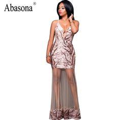 Abasona Elegant deep v neck sequin sheer mesh maxi mermaid dress Women evening party summer dress 2017 sexy long dress vestidos