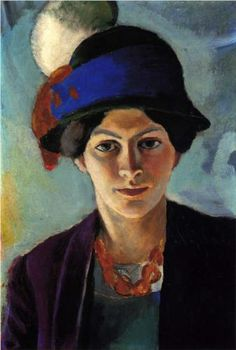 Portrait of the artist's wife with a hat - August Macke