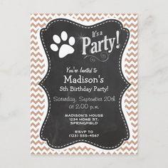 Paw Print Cakes, 5th Birthday, Chalkboard Quotes, Rsvp, Chevron, Envelope, Invitations, Party, Prints