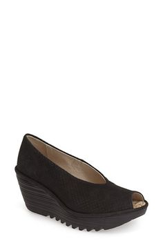 Fly London 'Yury' Perforated Peep Toe Pump (Women) available at #Nordstrom