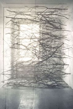 Maren Hassinger, Veil Fabric, branches, wire rope - 1987