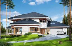 A three-storey house with sandstone cladding and wood trim Beautiful House Plans, Small Modern House Plans, House Outer Design, Modern House Design, Luxury House Plans, Dream House Plans, Style At Home, Big Houses Inside, Sandstone Cladding