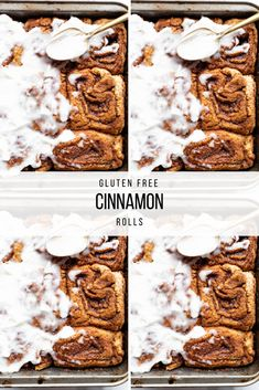These are the Best Gluten Free Cinnamon Rolls! They are sweet with a doughy + flaky texture. These are the perfect vegan Christmas breakfast! |Greens, Eggs, and Yams| #bestglutenfreecinnamonrolls #vegancinnamonrolls #glutenfreecinnamonbuns #veganchristmasbreakfast #dairyfreecinnamonrolls #veganchristnmas #veganbrunchrecipes #dairyfreefrosting #veganfrosting Gluten Free Cinnamon Rolls, Gluten Free Baking, Vegan Gluten Free, Vegan Cream Cheese Frosting, Dairy Free Frosting, Easter Recipes, Thanksgiving Recipes, Holiday Recipes, Vegan Brunch Recipes