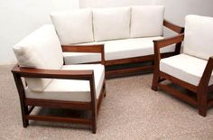 Made of indian sheeshamwood, Indus Sofa set mohogany finish. This sofa gives decorable, simple and elegant look to living room. fine quality of foam and fabrics used to do upholstry of this sofa. Its modern type Indian sofa to relax comfortably. Wooden Sofa Set Designs, Chair Design Wooden, Wooden Chairs, Dining Chairs, Room Chairs, Side Chairs, Sofa Design Images, Sofa Furniture, Furniture Design