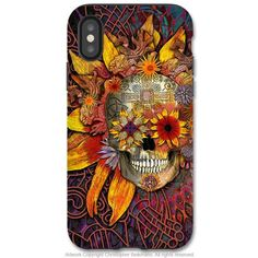 Origins Botaniskull - iPhone X Tough Case - Dual Layer Protection for Apple iPhone 10 - Sunflower Sugar Skull Art Case